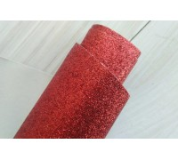 Ткань с глиттером, цвет красный, 30х35 см