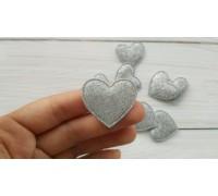 Сердце с глиттером, серебро, 1шт