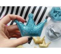 Корона с глиттером большая, цвет голубой, 1шт