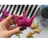 Корона с глиттером большая, цвет ярко-розовый, 1шт