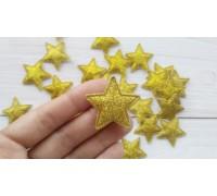 Звезда с глиттером, жёлтое золото, 1шт
