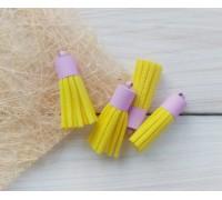 Кисточки замшевые, жёлтый+лаванда, 1шт