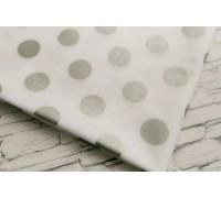 Ткань в горошек, серебро, 50х55 см