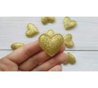 Сердце с глиттером, светлое золото, 1 шт