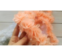 Шифоновый цветок, персиковый, 1шт