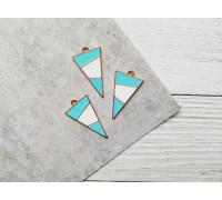 Подвеска «Треугольник», цвет голубой с белым, 1шт