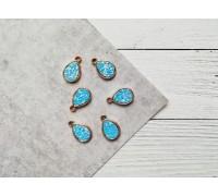 Подвеска каплевидная с глиттером, цвет голубой, 1шт