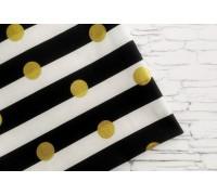 Ткань в чёрно-белую полоску+золотой горох, 45х55 см