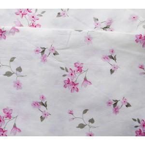 Ткань хлопок «Цветы розовые на молочном фоне», 33 х 80 см