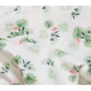 Ткань хлопок «Тропические листья и розовые фламинго», 33х80 см