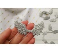 Крылья с глиттером №2, цвет серебро, 1шт