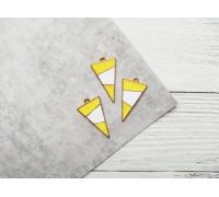 Подвеска «Треугольник», цвет жёлтый с белым, 1шт