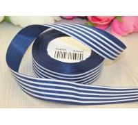 Лента репсовая, 25 мм, синяя в  полоску, 1м