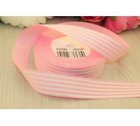 Лента репсовая, 25 мм, розовая в  полоску, 1м