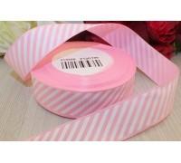Лента репсовая, 25 мм, розовая в косую полосу, 1м