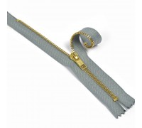 Молния джинсовая золото №5, 18 см, цв. Серый