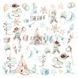 "Лист для вырезания ""Little sheriff"" 190гр, 30,5*30,5см,"