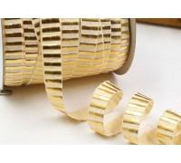 Резинка для блокнотов, молочная в золотую полоску, 1 ярд