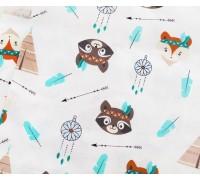Ткань хлопок «Еноты и лисы-индейцы», 33х80 см