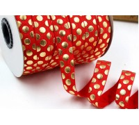 Резинка для блокнотов, красная в золотой горошек , 1 ярд
