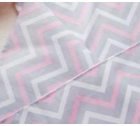 Ткань хлопок «Шеврон зигзаг розовый, серый, белый», 33х80 см