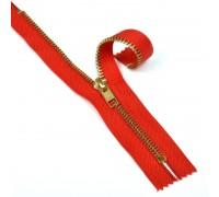 Молния джинсовая золото №5, 18 см, цвет красный