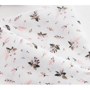 Ткань хлопок «Цветочки розовые на белом», 33х80 см
