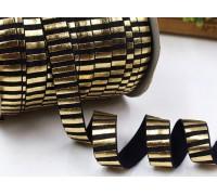 Резинка для блокнотов, чёрная в золотую полоску, 1 ярд