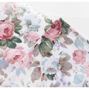 Ткань хлопок «Пионы с листьями на белом», 33х80 см