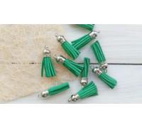 Кисточки замшевые, цвет зелёный+серебро, 1шт