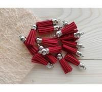 Кисточки замшевые, цвет красный+серебро