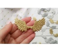 Крылья с глиттером №2, цвет золото, 1шт