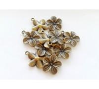Подвеска цветок,цвет бронза, 23мм х 19мм