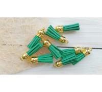 Кисточки замшевые, цвет зелёный+золото, 1шт