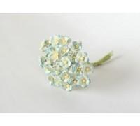 Цветы вишни мини (ГОЛУБОЙ+БЕЛЫЙ), букетик из 10шт