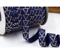 Резинка для блокнотов, синяя с треугольниками, 1 ярд