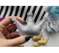 Корона с глиттером большая, цвет серебро, 1шт