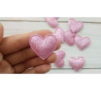 Сердце с глиттером, светло-розовый, 1шт