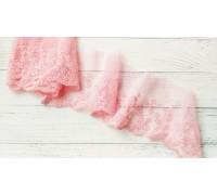 Кружево на сетке, цвет ярко-розовый, 28 см